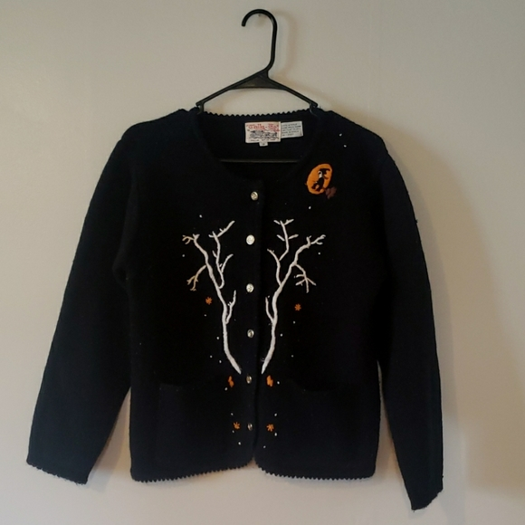 Vintage Tally Ho Halloween Button Up Sweater